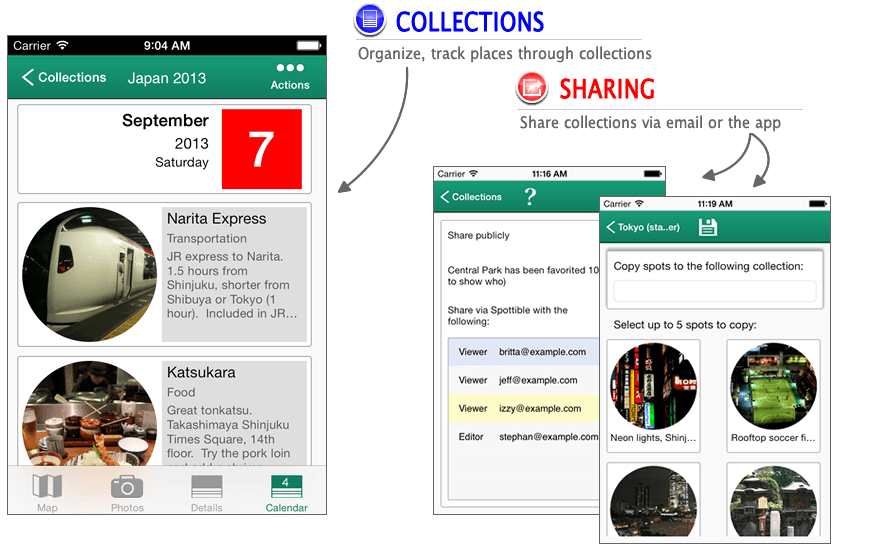 Organize and share places through collections